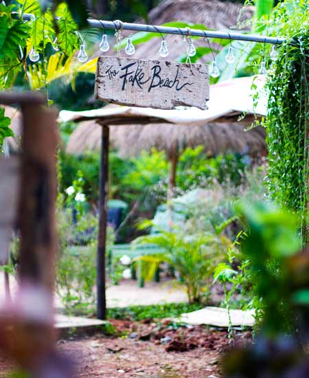 juice bar at yoga retreat beach